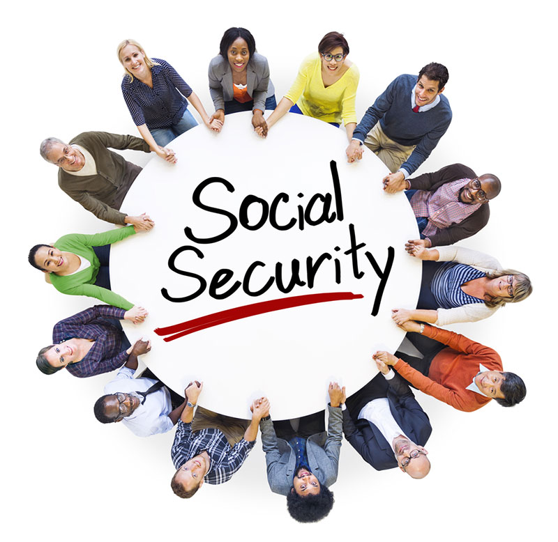 A sign that says 'Social Security' with people sitting in a circle around it.